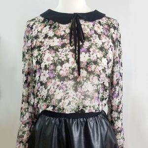 3/$30 Sheer Floral Print Blouse L